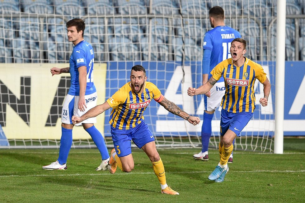 Utkání 10. kola první fotbalové ligy: SFC Opava - FC Baník Ostrava, 5. prosince 2020 v Opavě. Jan Žídek z Opavy se raduje z gólu.