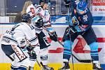 Utkání 17. kola hokejové extraligy: HC Vítkovice Ridera - Rytíři Kladno, 3. listopadu 2019 v Ostravě. Na snímku zleva Dominik Lakatoš, Patrik Zdráhal, Brendon Nash.
