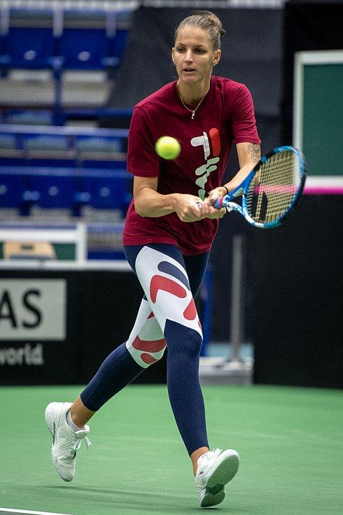 Karolína Plíšková, trénink českých tenistek před utkáním 1. kola Světové skupiny Fed Cupu proti Rumunsku, 6. února 2019 v Ostravě.