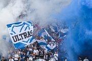 Utkání 4. kola nadstavby první fotbalové ligy, skupina o titul: FC Baník Ostrava - SK Slavia Praha, 19. května 2019 v Ostravě. Na snímku fanoušci Baníku.