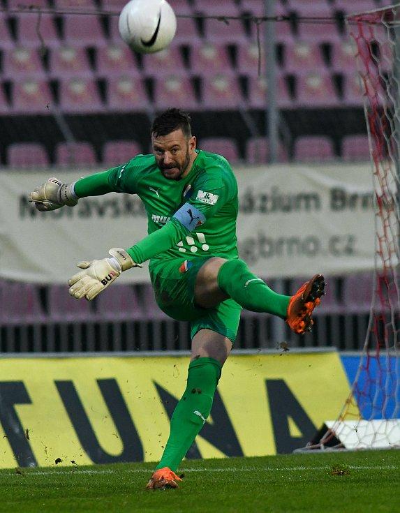 Brankář Baníku Jan Laštůvka - 14. kolo FORTUNA:LIGA, FC Zbrojovka Brno - FC Baník Ostrava, 23. prosince 2020 v Brně.