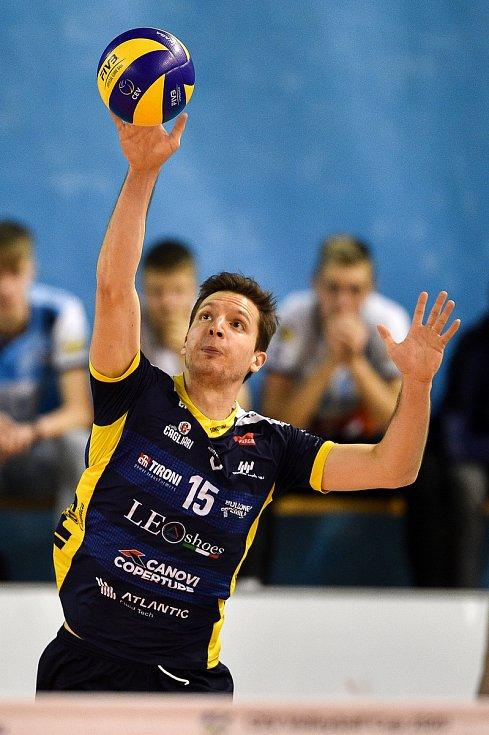 Zápas CEV Volleyball Cup 2020, VK Ostrava - Leo Shoes Modena, 12. února 2020 v Ostravě. Elia Bossi z Modeny.