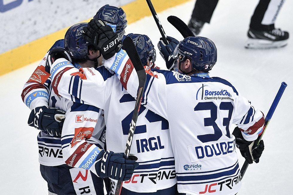 Utkání 42. kola hokejové extraligy: HC Oceláři Třinec - HC Vítkovice Ridera, 2. února 2021 v Třinci. Radost Vítkovic.