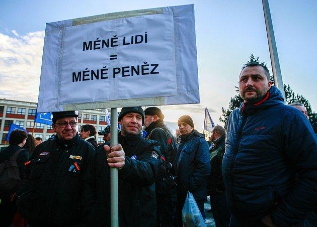 Protestní akce zaměstnanců ArcelorMittal.