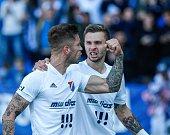 FC Baník Ostrava – SK Slavia Praha, radost, gól, emoce, vlevo Martin Fillo, vpravo Artem Meshchaninov