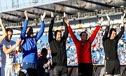 FC Baník Ostrava – SK Slavia Praha, radost, výhra, zleva Robert Hrubý, v černém Milan Baroš, a zcela vpravo Jan Laštůvka