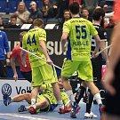 Superfinále play off florbalové superligy mužů: Technology florbal Mladá Boleslav - 1. SC TEMPISH Vítkovice, 14. dubna 2019 v Ostravě. Na snímku (dole) Brauer Marek.