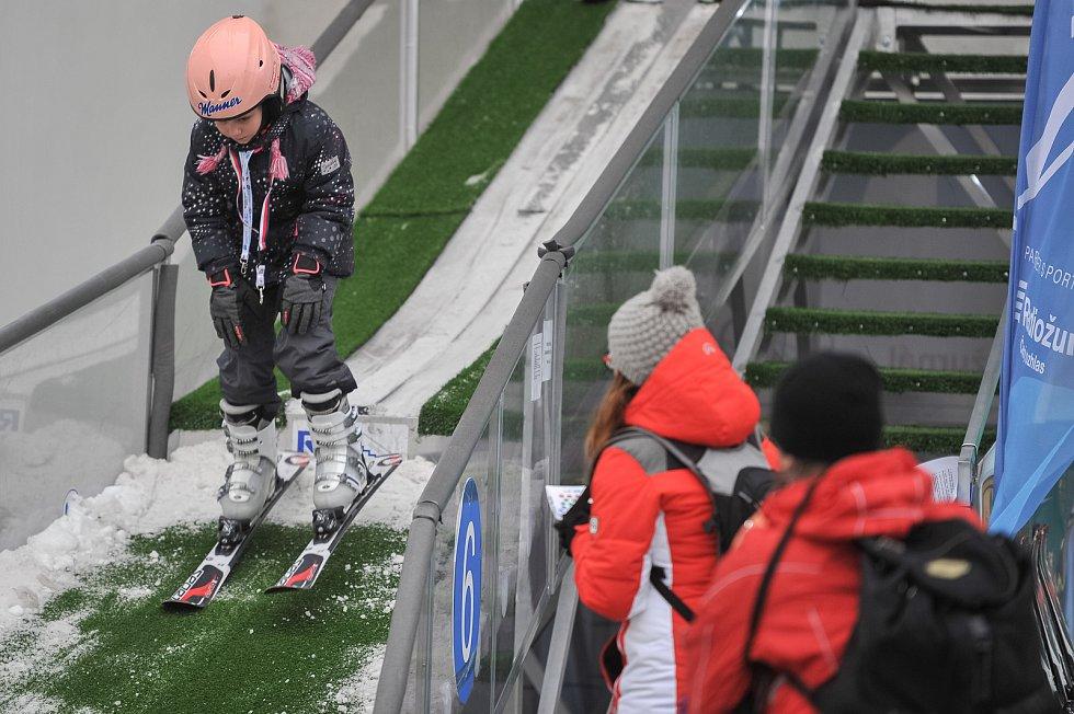 Olympijský festival u Ostravar Arény 23. února 2018 v Ostravě. Skoky na lyžích.