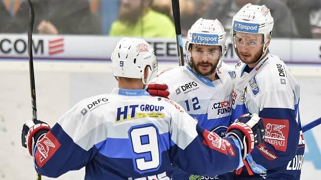 Utkání 10. kola hokejové extraligy: HC Vítkovice Ridera - HC Kometa Brno, 14. října 2018 v Ostravě. Na snímku (střed) Leoš Čermák.