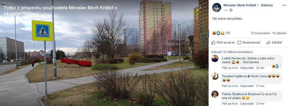 Snímek vyvráceného srdce v Ostravě-Jihu ze sociální sítě Facebook.
