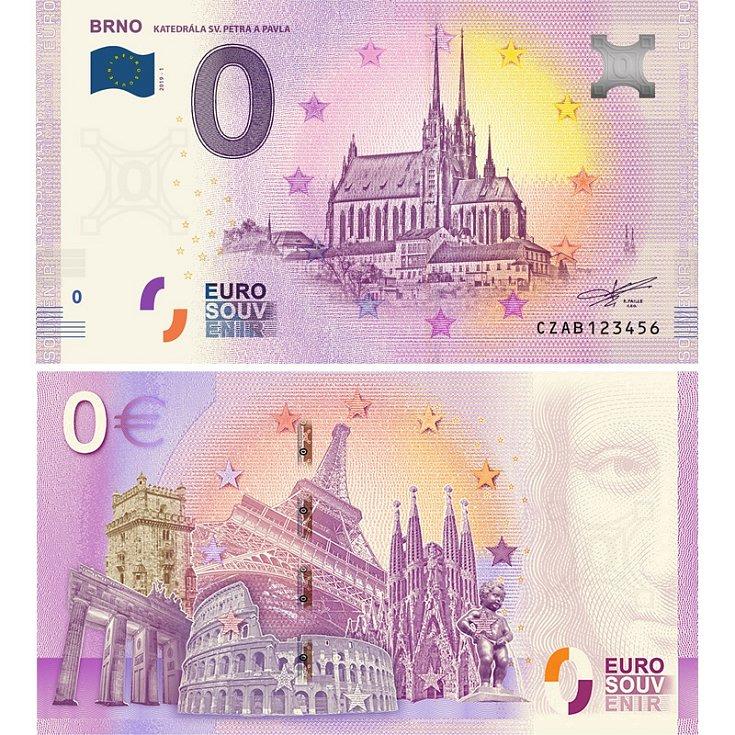 BRNO KATEDRÁLA SV. PETRA A PAVLA - suvenýrová eurobankovka, vydání roku 2019.