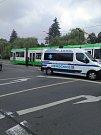 Nehoda tramvaje před Krajským úřadem v Ostravě.
