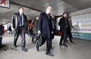 Premiér České republiky Bohuslav Sobotka do Ostravy dorazil vlakem na ostravské hlavní nádraží.