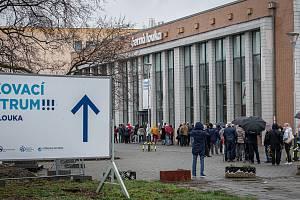 Očkovací centrum na Černé louce, duben 2021 v Ostravě.