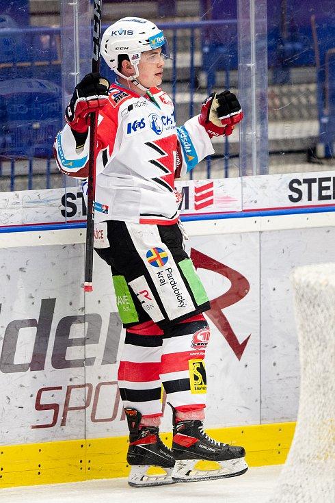 Utkání 50. kola hokejové extraligy: HC Vítkovice Ridera - HC Dynamo Pardubice, 2. března 2021 v Ostravě. Matěj Blumel z Pardubic oslavuje gól.