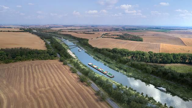 Vizualizace vodního koridoru Dunaj-Odra-Labe.