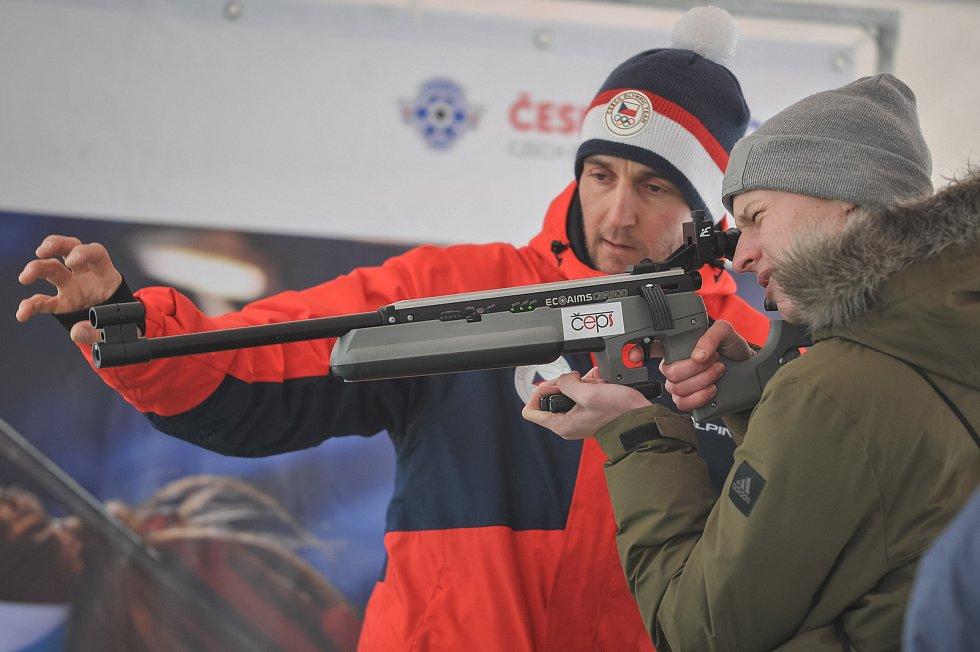 Olympijský festival u Ostravar Arény 23. února 2018 v Ostravě. Biatlon, střelba.