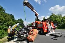 Zásah hasičů u nehody traktoru s osobním automobilem na Rudné ulici v Ostravě.