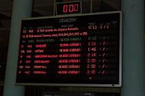 Pohled na informativní tabuli k odjezdům vlaků z Hlavního nádraží v Ostravěpo půlnoci, v době zahájení stávky.