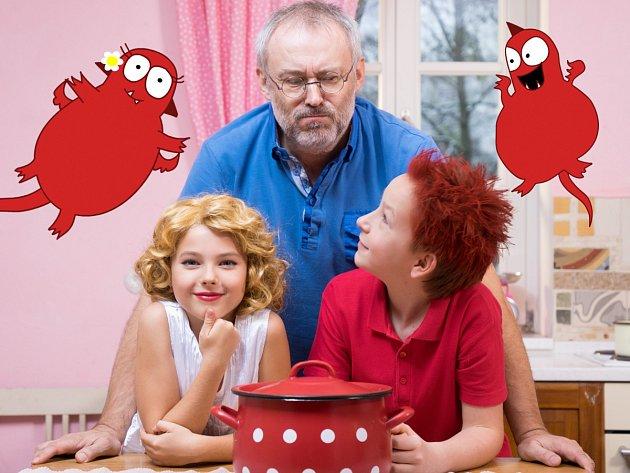 Z NATÁČENÍ pořadu Draci v hrnci. Vladimír Mráz (uprostřed) s jeho dětskými protagonisty.