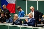 1. kolo tenisového Fed Cupu: Česká Republika - Rumunsko, 10. února 2019 v Ostravě. Na snímku vpravo Miroslav Dunutil.