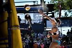 Turnaj Světového okruhu v plážovém volejbalu kategorie 4*, 6. června 2021 v Ostravě. Finálový zápas - Jolana Heidrichová, Anouk Verdeová-Depraová (na snímku) ze Švýcarska vs. Sarah Sponcilová, Kelly Claesová z USA.