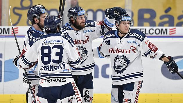 Utkání 22. kola hokejové extraligy: HC Vítkovice Ridera - HC Sparta Praha, 27. listopadu 2019 v Třinci. Na snímku radost Vítkovic (střed) Peter Trška.