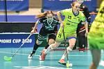 Pohár mistrů ve florbalu, o 3. místo (ženy): 1. SC Vítkovice - SB-Pro Nurmijarvi, 12. ledna 2020 v Ostravě. Na snímku (zleva) Karoliina Kujala a Ivana Šupáková.