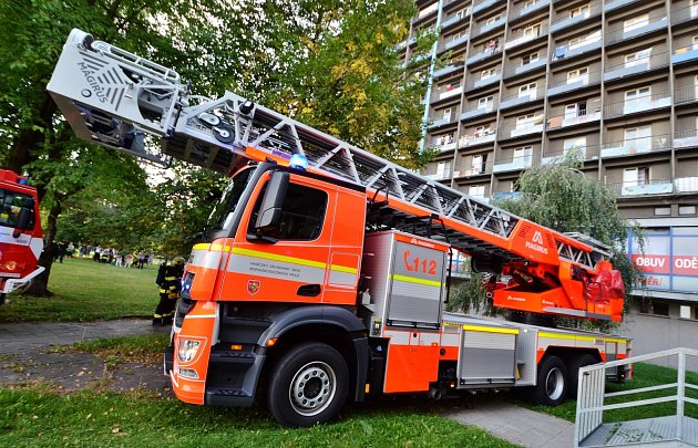 Zásah hasičů upožáru vostravské ubytovně Hlubina.