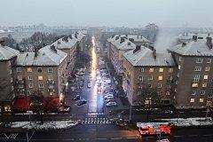 Večerní požár 6. března 2018 v Ostravě-Porubě