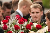 Pohřeb trenéra Baníku Ostrava Ericha Cviertny.