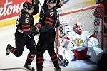 Mistrovství světa hokejistů do 20 let, finále: Rusko - Kanada, 5. ledna 2020 v Ostravě. Na snímku (zleva) Akil Thomas, Rapheal Lavoie a brankář Ruska Amir Miftakhov.