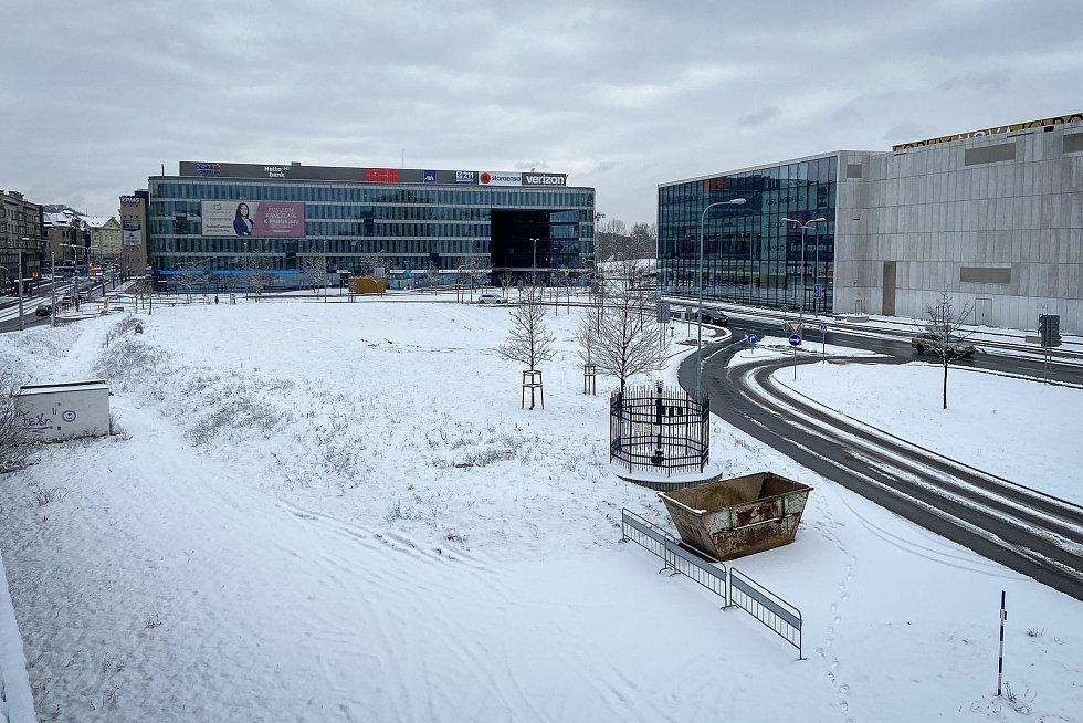 Pozemek kde má stát jedna z nejvyšších budov v České republice, 27. ledna 2021 v Ostravě.