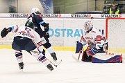 Utkání 30. kola hokejové extraligy: HC Vítkovice Ridera - HC Škoda Plzeň, 28. prosince 2018 v Ostravě. Na snímku (zleva) Jan Výtisk, Petr Straka, brankář Vítkovic Patrik Bartošák.