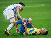 I. liga, 4. kolo, FC Baník - FK Teplice: 3 : 3, na snímku vlevo Robert Hrubý