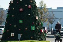 Zákazníky v areálu hypermarketu v Hrabové vítá nazdobený vánoční strom.