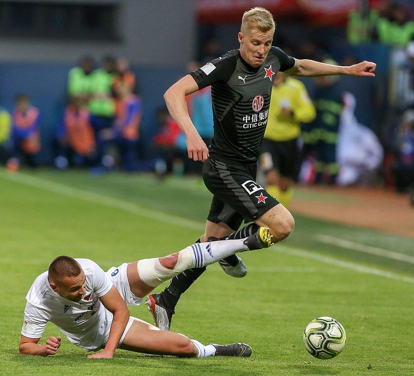 Finále fotbalového poháru MOL Cupu, Baník Ostrava - Slavia Praha 22.května 2019 v Olomouci. Na snímku (zleva) Denis Granečný z Baníku Ostrava .