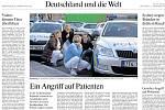 Světové média kde byla fotografie ze střelby ve FNO, noviny zde dne 11. prosínce 2019. Na snímku německé noviny Frankfurter Allgemeine, (plným názvem Frankfurter Allgemeine Zeitung für Deutschland)