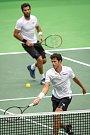 Utkání kvalifikace tenisového Davisova poháru - čtyřhra: Česká Republika - Nizozemsko, 2. února 2019 v Ostravě. Na snímku (nahoře) Julien Rojer a Robin Haase.