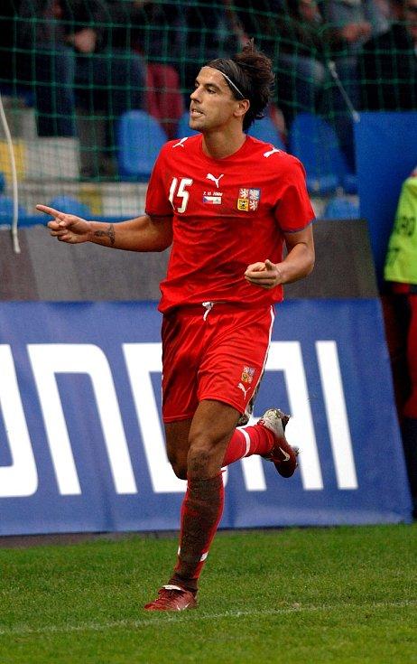 Milan Baroš během zápasu se San Marinem.