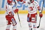 Utkání 16. kola hokejové extraligy: HC Vítkovice Ridera - HC Oceláři Třinec, 15. února 2021 v Ostravě. (zleva) Patrik Hrehorčák z Třince a Martin Růžička z Třince se radují z gólu.