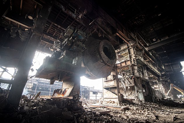 Vareálu Vítkovice Steel probíhá demolice uzavřené ocelárny, 26.ledna 2021vOstravě.