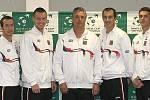 Daviscupová reprezentace na tiskové konferenci. Zleva Radek Štěpánek, Tomáš Berdych, Jaroslav Navrátil, Lukáš Rosol, František Čermák.