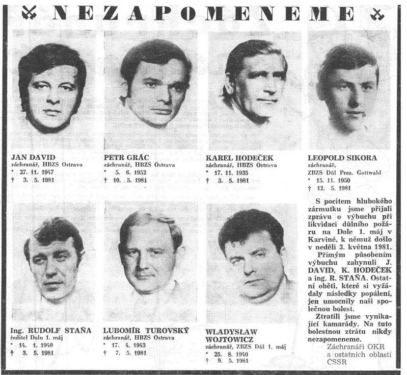 Parte obětí výbuchu z 3. května 1981, šestice báňských zácnranářů a ředitele šachty, z tehdejšího hornického tisku.