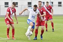 Fotbalisté Baníku Ostrava B porazili na Bazalech v utkání 2. kola MSFL Frýdek-Místek 2:0. Na snímku uprostřed útočník Tomáš Zajíc.