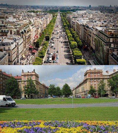Horní snímek Champs-Élysées, dolní porubská Hlavní třída.