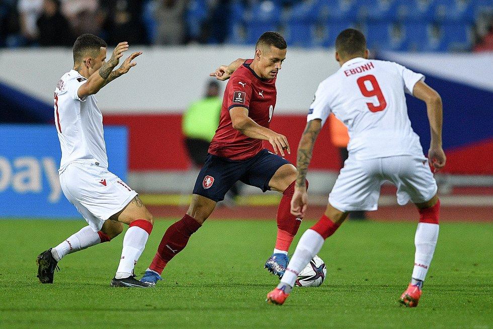 Utkání skupiny E kvalifikace mistrovství světa ve fotbale: Česko - Bělorusko, 2. září 2021 V Ostravě. (střed) Tomáš Holeš z ČR.