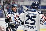 Utkání 51. kola hokejové extraligy: HC Vítkovice Ridera - HC Energie Karlovy Vary, 3. března 2020 v Ostravě. Zleva Jan Hruška z Vítkovic a Peter Šišovský z Vítkovic.