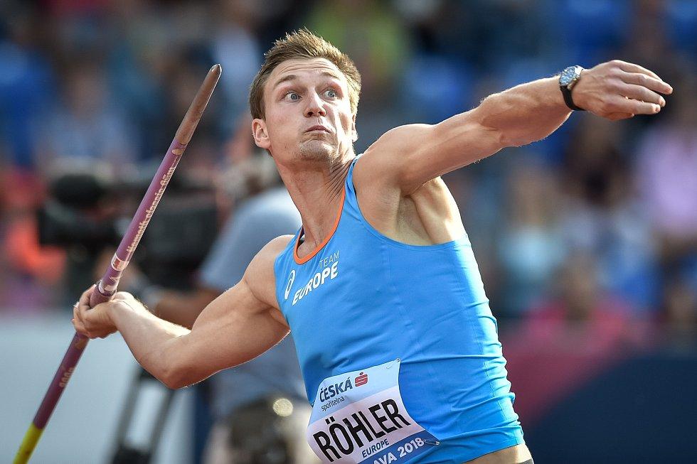 Kontinentální pohár v atletice, oštěp muži, 9. září 2018 v Ostravě. Thomas Rohler z GER z týmu Evropy.