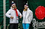 Olympijský festival u Ostravar Arény, neděle 18. února 2018, vlevo David Moravec, vpravo Jakub Janda